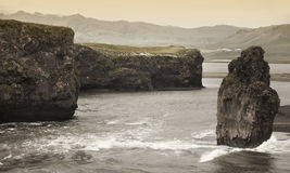 Iceland. South area. Vik. Dyrholaey zone. Landscape with basalti Stock Photos