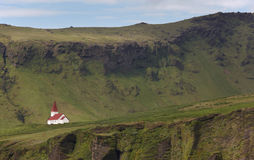 Iceland. South area. Vik. Landscape with traditional icelandic c Royalty Free Stock Photos