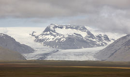 Iceland. Southeast area. Heinabergsjokull glacier and field. Stock Photos