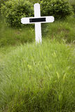 Iceland. Southeast area. Hof. Cemetery cross and grass. Icelandic cemetery with white cross and grass stock photography
