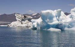 Iceland. Southeast area. Jokulsarlon. Icebergs and lake. Royalty Free Stock Photos