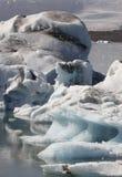 Iceland. Southeast area. Jokulsarlon. Icebergs, lake and glacier Royalty Free Stock Image