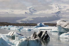 Iceland. Southeast area. Jokulsarlon. Icebergs, lake and glacier Stock Photos