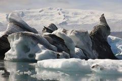 Iceland. Southeast area. Jokulsarlon. Icebergs, lake and glacier Stock Images