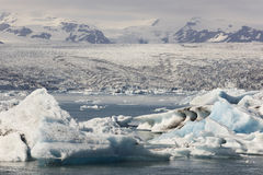 Iceland. Southeast area. Jokulsarlon. Icebergs, lake and glacier Royalty Free Stock Photo