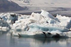 Iceland. Southeast area. Jokulsarlon. Icebergs, lake and glacier Royalty Free Stock Photo