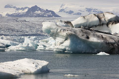 Iceland. Southeast area. Jokulsarlon. Icebergs, lake and glacier Stock Photos