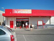 Iceland in Spain. Iceland frozen food supermarket on the Mar Menor, Murcia, Spain Royalty Free Stock Photos