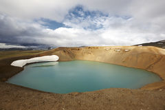 Iceland. Stora-Viti crater with water. Slope with snow. Stock Image