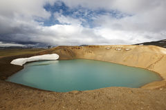 Iceland. Stora-Viti crater with water. Slope with snow. Stock Photography