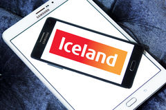Iceland stores logo. Logo of the international chain of convenience stores iceland on samsung mobile phone a5 Royalty Free Stock Photography
