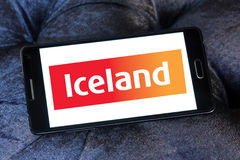 Iceland stores logo. Logo of the international chain of convenience stores iceland on samsung mobile phone a5 Royalty Free Stock Photo