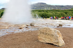 Iceland - Strokkur geyser. Sign showing the famous Icelandic tourist attraction and landmark on the Golden Circle Stock Photo