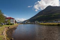 Iceland Summer, homes at enchanting fjord of Seydisfjordur. Iceland stock photos