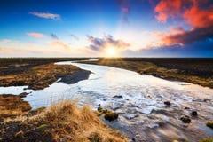 Iceland sunrise river Stock Image