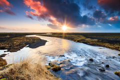 Iceland sunrise stream Stock Photos