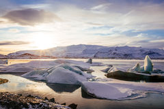 Iceland, sunset over Jokulsarlon Glacier Lagoon Stock Photo