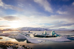 Iceland, sunset over Jokulsarlon Glacier Lagoon Royalty Free Stock Images
