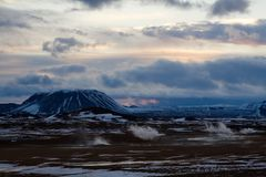 Iceland sunset vulcano Royalty Free Stock Photography