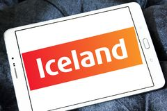 Iceland Supermarkets chain logo. Logo of Iceland Supermarkets chain on samsung tablet . Iceland is a British supermarket chain, with emphasis on the sale of Royalty Free Stock Photo