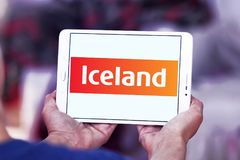 Iceland Supermarkets chain logo. Logo of Iceland Supermarkets chain on samsung tablet . Iceland is a British supermarket chain, with emphasis on the sale of Royalty Free Stock Image