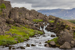 Iceland Thingvellir Waterfall. Iceland Waterfall in Thingvellir National Park Stock Images