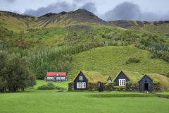 Iceland. Traditional Icelandic houses with grass roof in Skogar Folk Museum, Iceland royalty free stock image
