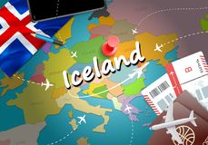 Iceland travel concept map background with planes, tickets. Visi vector illustration