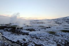 Iceland Travel. An overall view of the geothermally active valley of Haukadalur , which contains the geysers Geysir and Strokkur in Iceland Stock Photo