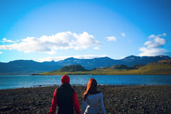 Iceland travel people look at nature. East fjords in Iceland Royalty Free Stock Photos
