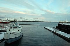 Iceland Travel. A view of boats at the harbor in Reykjavik, Iceland Stock Photography