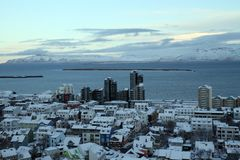 Iceland Travel. A view of the Rekjavik from the top of  Hallgrimskirkja Lutheran Church in Reykjavik, Iceland Royalty Free Stock Image