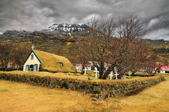 Iceland turf church Stock Photo