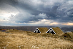 Iceland turf houses Royalty Free Stock Photo