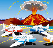 Iceland volcano. Hostages of the volcano - aircraft awaiting flights look at erupting volcano - vector illustration Stock Photo