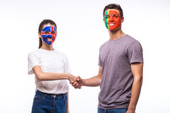 Iceland vs Portugal handshake of equal game on white background. Stock Photos