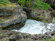Iceland Waterfall. Barnafoss  Waterfall Iceland in Summer Royalty Free Stock Photography