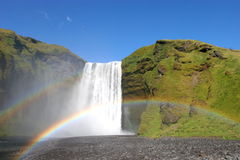 Iceland waterfall and double rainbow stock photography