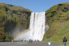 Iceland waterfall and rainbow Royalty Free Stock Image