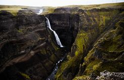 Iceland waterfall in rainy weather royalty free stock images