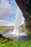Iceland waterfall - Seljalandsfoss. At day stock photos