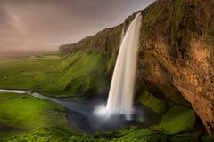 Iceland Waterfall Seljalandsfoss Stock Image