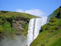 Iceland Waterfall Skogafoss. Big Waterfall in Iceland Summer Royalty Free Stock Photos