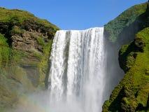 Iceland Waterfall Skogafoss. Big Waterfall in Iceland Summer Stock Image