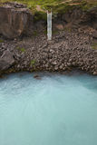 Iceland. Waterhole near Godafoss waterfall. Glacier water. Stock Images