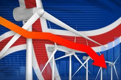 Iceland wind energy power lowering chart, arrow down - environmental natural energy industrial illustration. 3D Illustration. Iceland wind energy power lowering vector illustration
