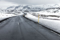 Iceland Winter landscape Road Royalty Free Stock Photos