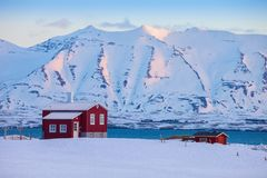 Free Iceland Winter Landscape With Solitary Living House Positioned Of The Fjord At Dawn Near Akureyri, Northern Iceland Stock Image - 105596591