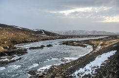 Iceland Winter River Landscape Stock Photography