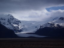 Iceland in winter. Skaftafell national park in Iceland, beautiful landscape of mountains, snow and glaciers Stock Image